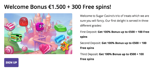 Welcome bonus and free spins promotion at Sugar Casino online