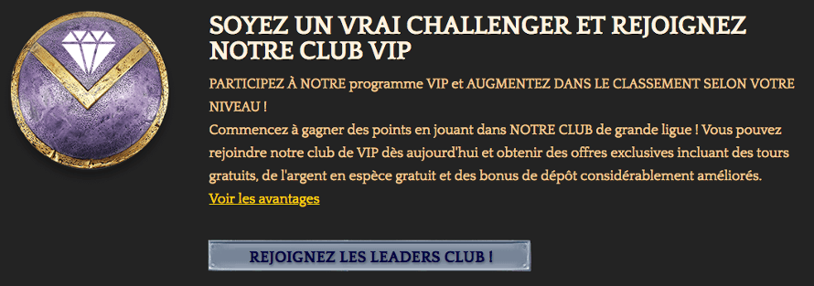 Le Club VIP sur Bronze Casino